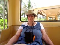 My granddaughter's photo of me on the tram - Gorda Cay