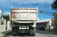 Following a truck with bald tires - Barbados