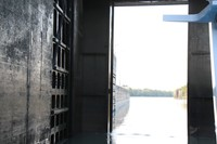 Side of the lock as the lock gates open