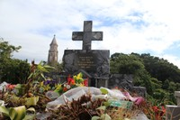 Balata Cemetery grave with steeple of the church in the background