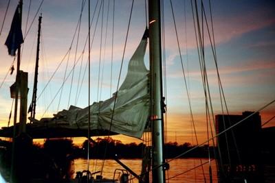 Sunset across ENTERPRISE'S boom