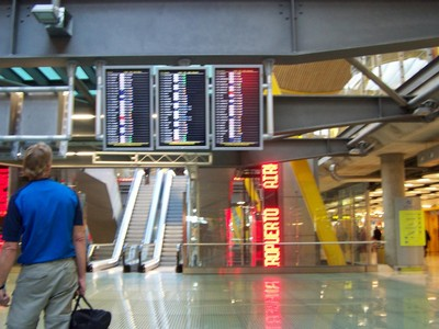 Arrivals and departure board