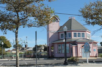 Green building - the pink building is mini golf