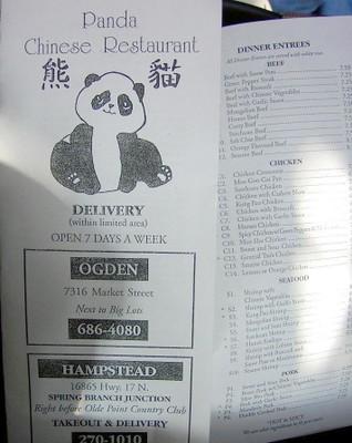Panda Takeout menu