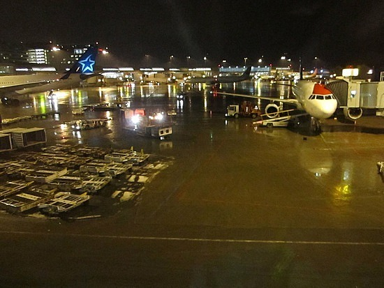 Leaving Trudeau airport in the evening