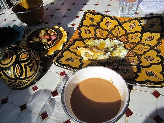 Emjoying a Moroccan breakfast