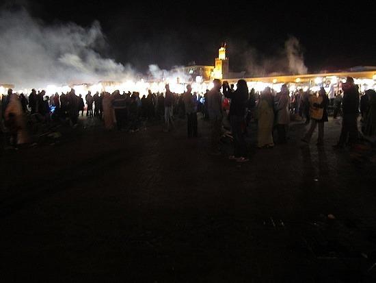 Steam rising off of the Djemma el-Fna