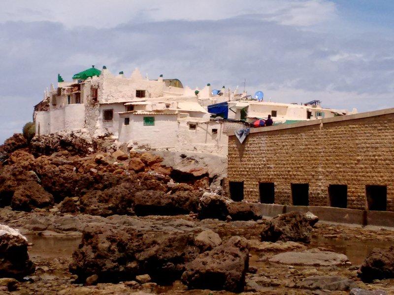 Casablanca beach Sidi Abderrahman shrine and new access bridge