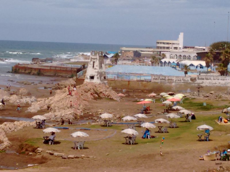 Casablanca Corniche outdoor tea room and old lighthouse