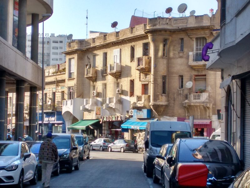 Casablanca, Morocco, Rue Ouled Ziane and street congestion.