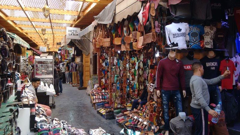 Casablanca Old Medina Babouche shop beside Hotel de la Reine