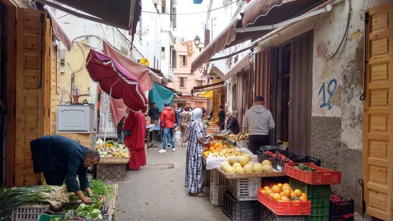 Casablanca Old Medina food stalls in a narrow thoroughfare