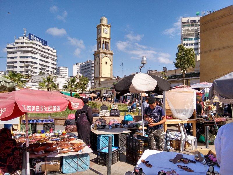 Casablanca city centre, a busy street market at the medina emtrance