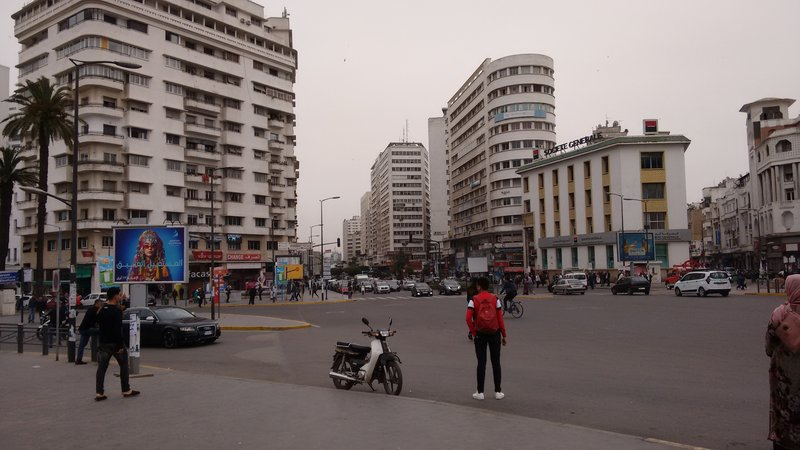 Casablanca United Nations Square a brief pause in the unrelenting passage of traffic!