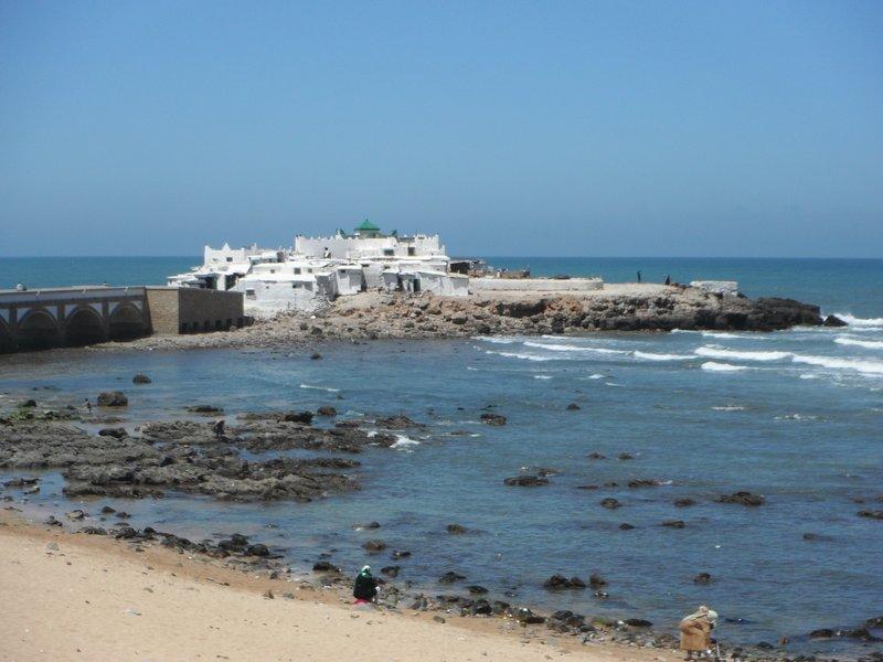 Casablanca beach, Mausoleum of Marabout Sidi Abderrahman distance view