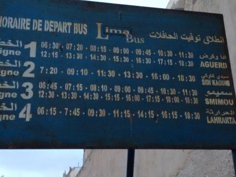 "Essaouira timetable for Lima bus to Sidi Kaouki ( pronounced ""cow-kee"".)"