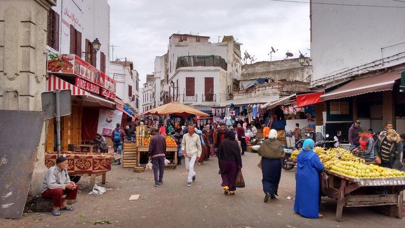 Casablanca Old Medina a busy street market at Bab Marrakech
