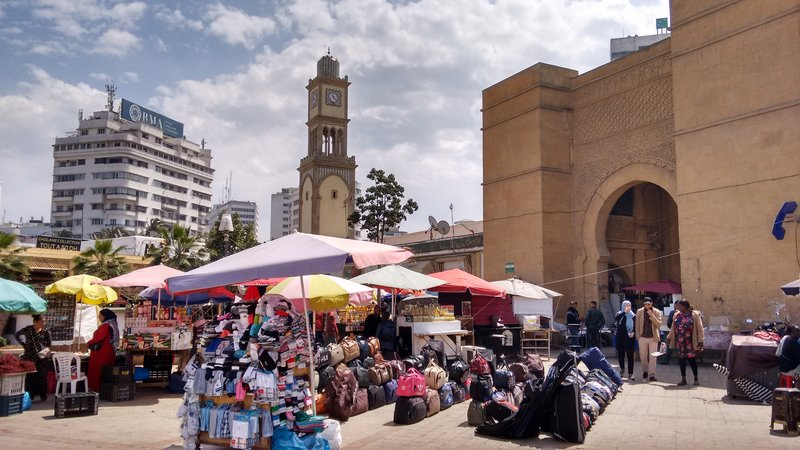 Casablanca Old Medina main gate and clock tower