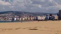 Tangier city beach and Malabata suburb...