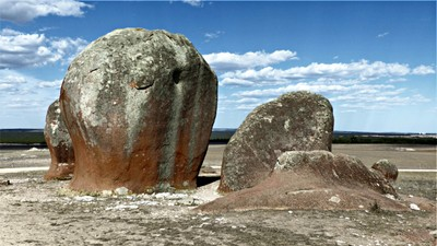 Two pictures of inselbergs which could have looked like haystacks