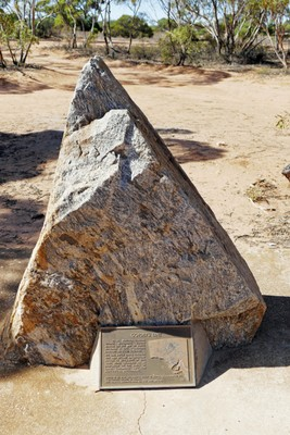 The marker for the Goyder line, with plaque giving details