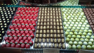 Colourful display of amazing selection of chocolates