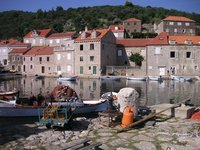 fisherman village in dalmatia island