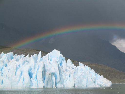 Rainbow kissing glacier