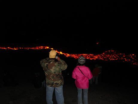 Pacaya volcanoe with real lava