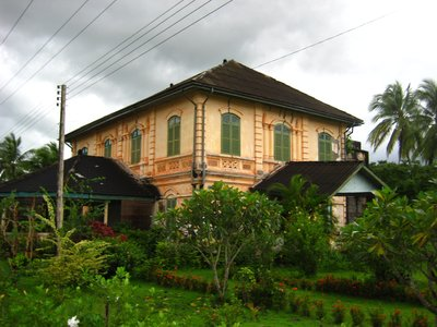 Old residential house at Champasak