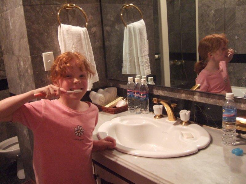 Olivia demonstrates the facilities