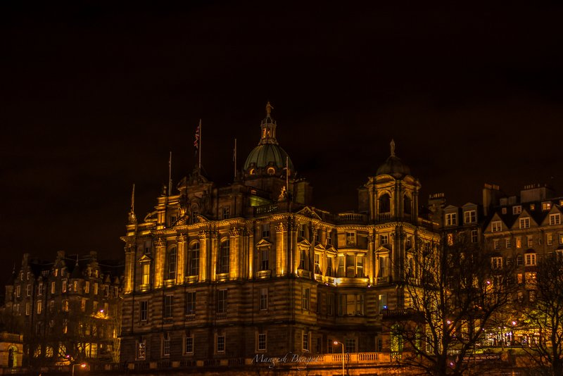 Scottish building at night