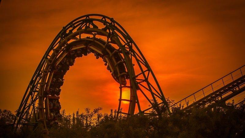 Roller Coaster Amusement Park Sunset
