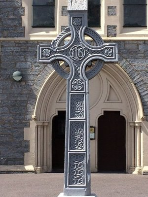 Celtic Cross out front of Church at Kenmare