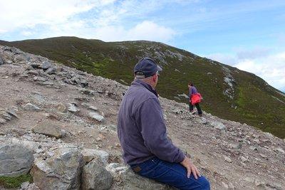 having a break on the way up Croagh Patrick