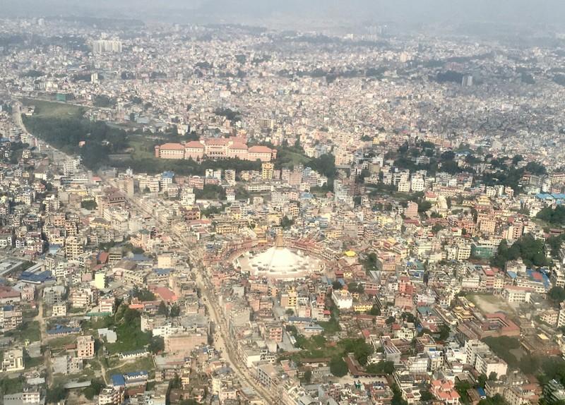 Aerial view of the Great Stupa in Kathmandu