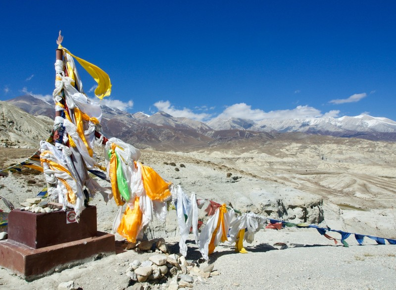 Prayer flags at the pass before arriving at Lo Manthang