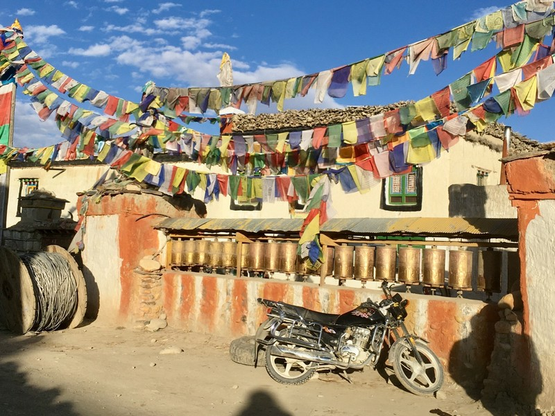 Prayer wheels in Lo Manthang