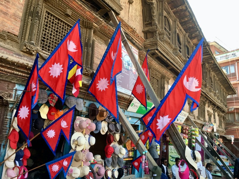 Nepal flag, the only triangular one in the world