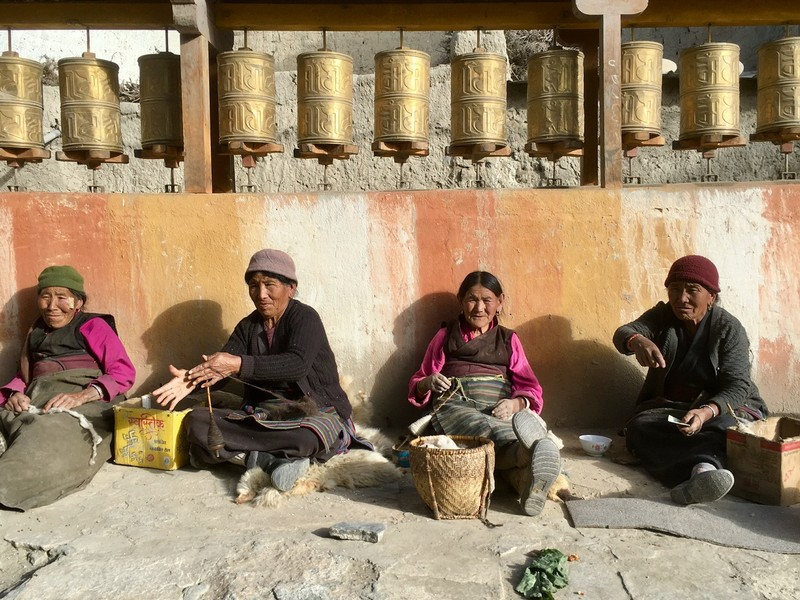 Spinning Changra wool in Lo Manthang