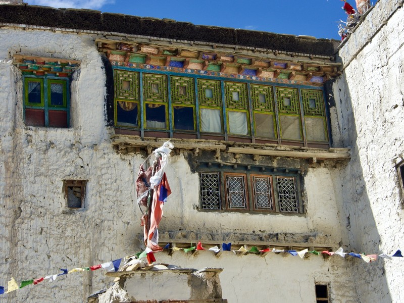 Windows of the palace in Lo Manthang, visits are note allowed until earthquake damage is repaired