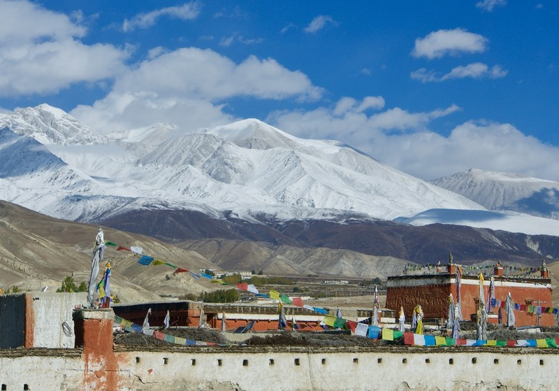 Leaving Lo Manthang after yesterday snow fall on the mountains