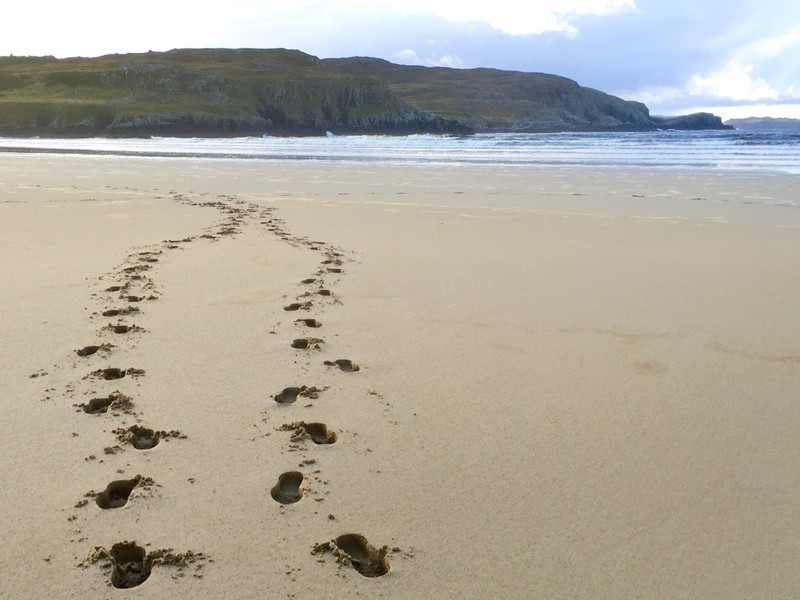 Footsteps in the Sand at Farr Bay Beach