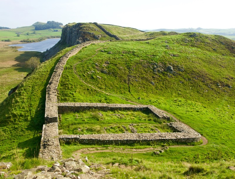 Hadrians wall and a milecastle