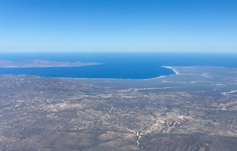 View over Baja California South from the air