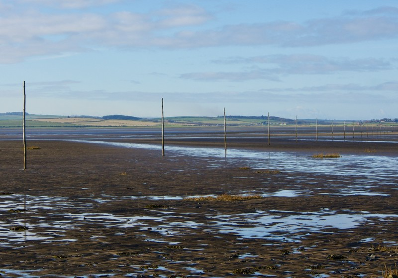 Markers for foot crossing at low tide to Lindisfarne