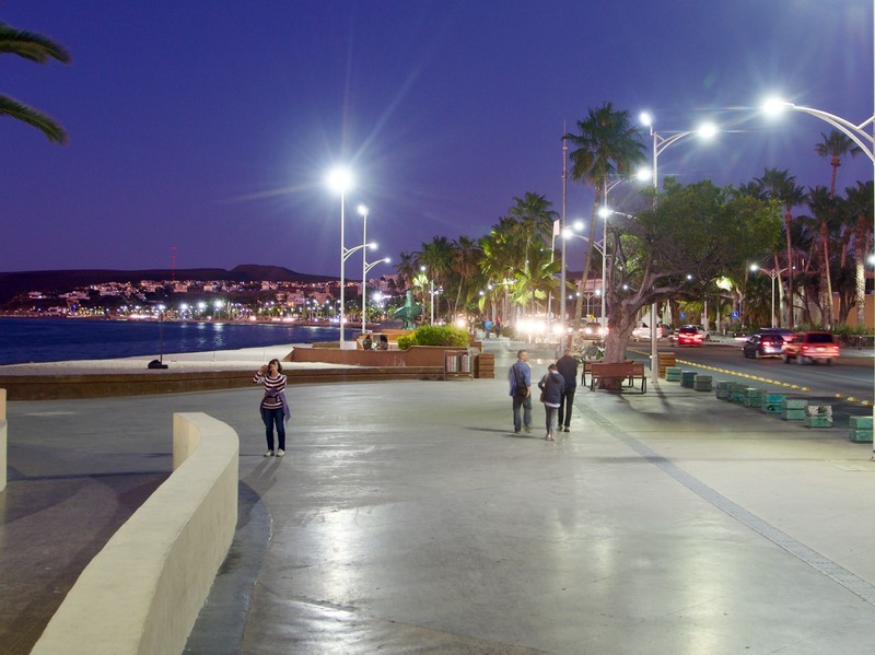 Malecon at night, La Paz