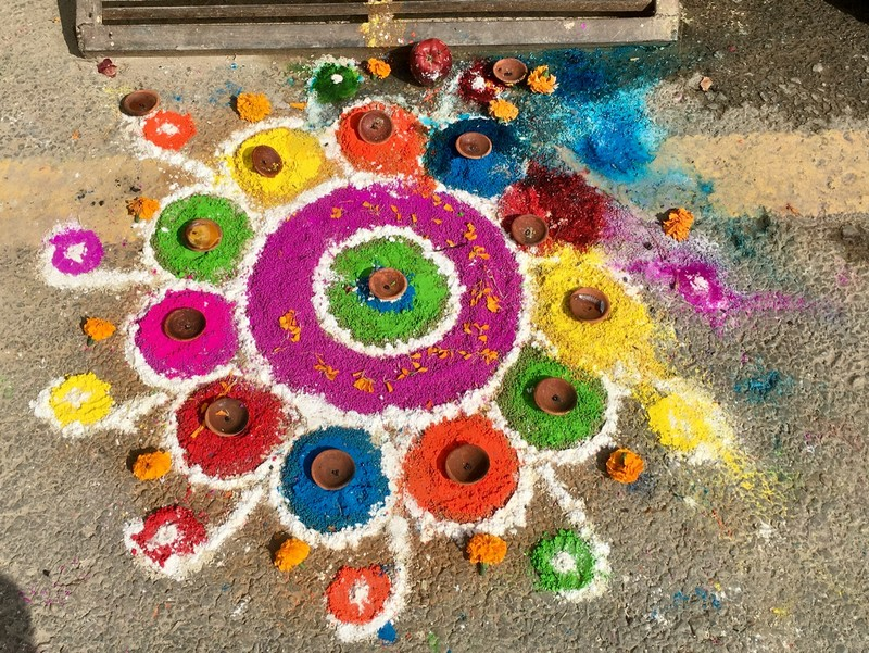 A decoration in front of a house during Diwali Festival