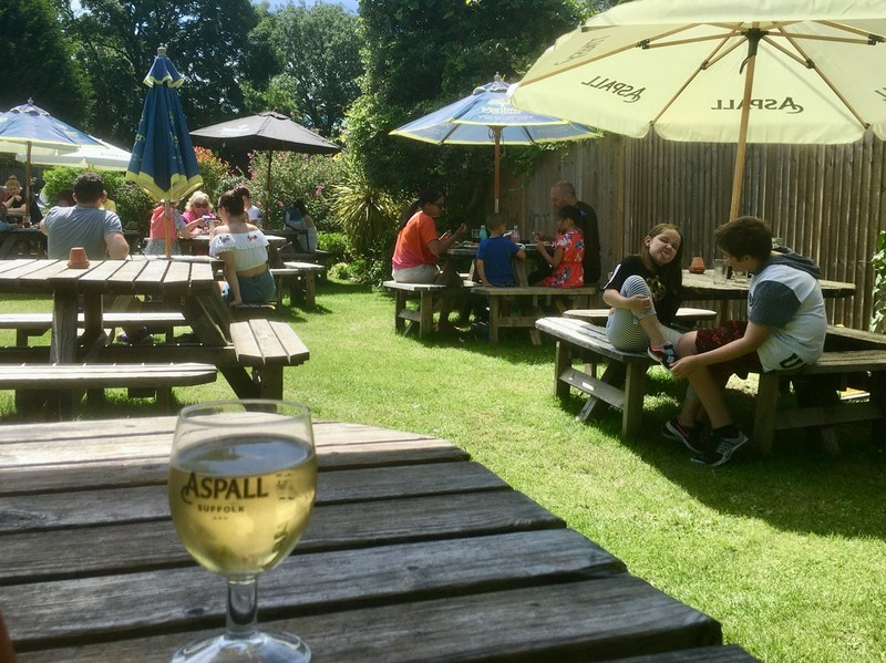 Outdoor dining at country pub