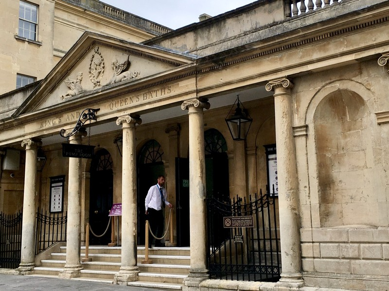 Entrance to the Roman Baths but now the entrance to the Pump Room